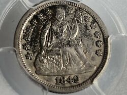 1849 Seated Liberty Dime Pcgs Xf-40 F-103 Fortin Variety Die Cracks 10c