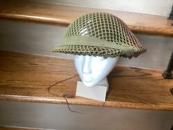 Wwii British Style Helmet With Liner And Camo Netting See Pics And Description