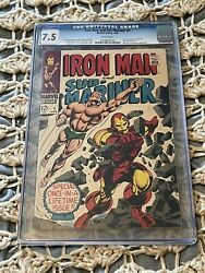 Iron Man And Sub-mariner 1 Cgc 7.5 White Pages Silver Age Marvel 1968
