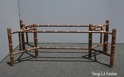 Vintage Mcguire Rectangle Bamboo And Leather Dining Room Table Base