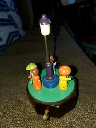 Schmid Hand Carved Raindrops Keep Falling On My Head Music Box, Works As Is