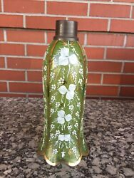 Antique Hand Painted Glass Lamp Shade Green Moser White Flowers 11 Estate Sale