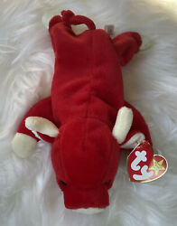 Ty Snort The Bull Beanie Baby 1995 One Tag Error Pe Pellets