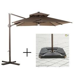 Monkey Patio- Bali-brown 12x9ft Offset Cantilever Patio Umbrella + Base Weights
