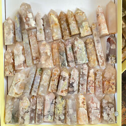Wholesale Flower Agate Tower Crystal Quartz Healing Wand Stone 6 Faceted Prism