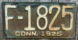 Rare 1925 Connecticut License Plate F-1825, 96 Years Old