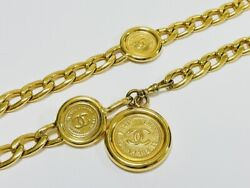 Coco Mark Medal Motif Round Chain Belt Vintage Gold Gp Metal Acces _67789