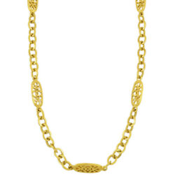 Coco Mark Long Chain Necklace 95p Vintage Accessories Gp Gold _67372