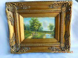 Gorgeous Antique / Vintage Oil Board Painting Sheep Man And River Very Detailed