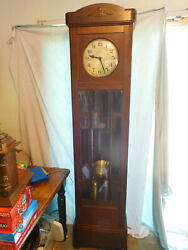 Antique Gustav Becker Grandfather Clock German Oak Arts And Crafts ,awesome