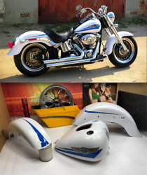 🔥oem Harley 2007 Softail Fatboy White Gold Pearl Paint Set Rear Fender 200mm🔥