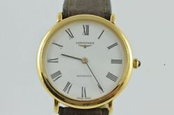 Longines Les Grande Automatic Menand039s Watch 1 11/32in 18k 750 Solid Gold Vintage