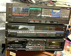 Pioneer Turntable Double Cassette Deck And Ampliflier And 2 Rosewood Speakers