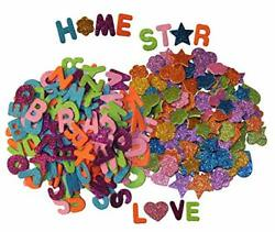 Letters And Shapes Foam Glitter Stickers Pack Of Approx. 280 Self Adhesive -