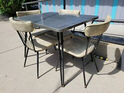 Vintage 1960s Folding Leg Formica Top Kitchen Table 4 Metal And Vinyl Spoke Chairs