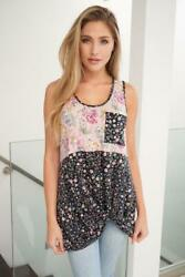 Sleeveless Floral Print Knit Top By White Birch