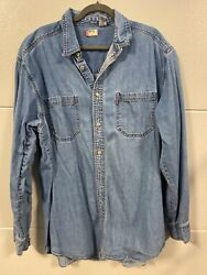 Vintage Denim Levi's Shirt 1960s To 1970s Red Label Lrg To Xl 100 Cotton