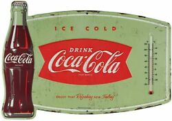 Coca-cola Fishtail Embossed Thermometer Sign Retro Wall Decor Small Paint Flaw