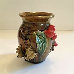 Art Pottery Vase Frog Fruit And Flower Theme 3d Applied Embellishments 5 Tall