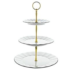 Yelife Ceramic Cake Serving Stand 3 Tier Porcelain Cake Stand Geometric White