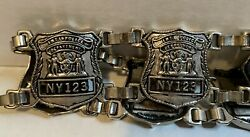 """Metal Police Dept Badge Belt """"ny123"""" Silver Chain Leather Costume Cosplay Ooak L"""