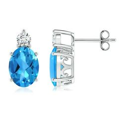 3.172ctw Swiss Blue Topaz Stud Earrings With Diamond In Silver/gold/platinum