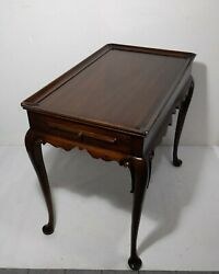 Vintage Queen Anne Georgian Mahogany Tea Table Pull Out Trays Kittinger Style