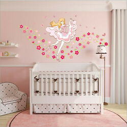 Removable Flowers Dancing Girl Wall Sticker Mural Wall Decal Home Room Decor DIY