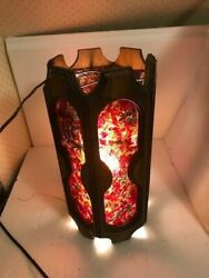 Vintage Mcm Wood Hanging Swag Lamp Light Rock Candy Chunky Very Cool