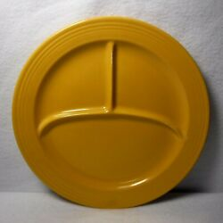 Homer Laughlin China Fiesta Vintage Yellow Grill Compartment Plate - 10-1/2