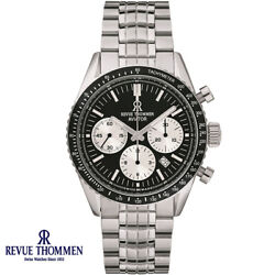 Revue Thommen 17000.6134 Aviator Automatic Black Silver Steel Menand039s Watch New