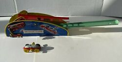 Vintage 1940's Tin Wind Up Wolverine Jet Roller Coaster Toy And Car, Made In Usa