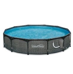 Summer Waves 12and039 X 33 Outdoor Round Frame Above Ground Swimming Pool With Pump
