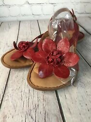 Born Womenand039s Red Flip Flop Slingback Sandals With Flower Decor Size 9 M /405