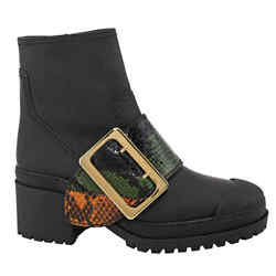 The Buckle Boot In Rubberised Leather And Snakeskin In Black