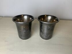 2 Antique Imperial Russian 84 Sterling Silver Jigger/shot Glass Etched Heart