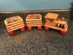 Vintage Wooden Train Set, Engine And 2 Cars W/ Assorted Number And Letter Blocks