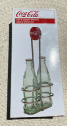 Coca Cola Glass Salt And Pepper Shakers With Carrier
