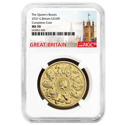 2021 U.k. 100 Pound 1 Oz Gold Queenand039s Beast Completer Coin Ngc Ms70 Great Britai