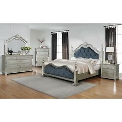 Traditional Silver Finish 5-pc Queen Size Bed Set Tufted Royal Blue Upholstered