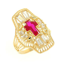 10k Or 14k Yellow Gold Religious Simulated Ruby Cross Set Ladies Filigree Ring