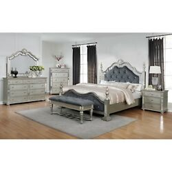 5-pc Traditional Silver Finish Queen Size Bed Set Tufted Royal Blue Upholstered