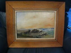 Antique Vintage Oil Painting On Board Seascape By William Dodd
