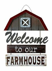 Welcome To Our Farmhouse Sign For Wall Front Door Porch Home Decor Vertical H...