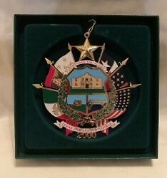 2000 Capitol Ornament Reverse Of The Texas State Seal Box Card Included