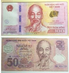 Vietnam 50th And 65th Anniversary State Bank 50₫and100₫ Note 2pcs+free1 Note14229