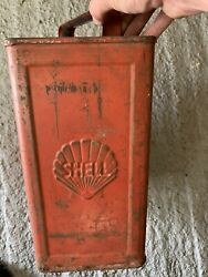 Vintage Rare Shell X100 Embossed 2 Gallon Petrol Can Oil Automobilia Old