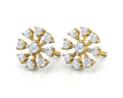 0.54ct Natural Round Diamond 14k Solid Yellow Gold Stud Screw Back Earring