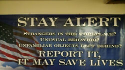 Clearance Sale Stay Alert 30 Safety Banner Sign Poly 48 X 118 Homeland Security