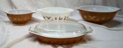 Vintage Pyrex Milk Glass Americana Pattern Set Of 3 Bowls And Divided Dish And Lid